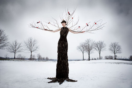 'Winter Tree' Laüra Hollick as a winter tree. Photo by Kevin Thom. Makeup by Rachel Duff