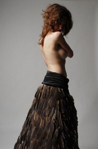 Laüra Hollick in her feather skirt. Photo by Melanie Gillis
