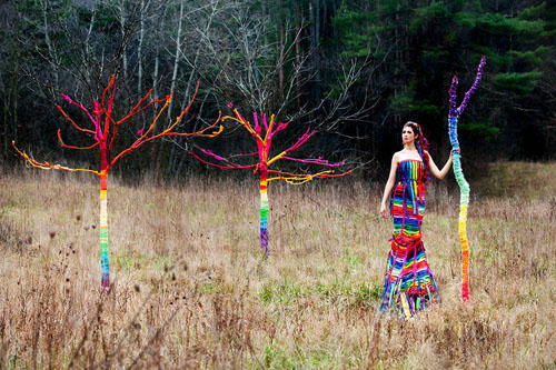 Rainbow Tree with artist Laüra Hollick and photographer Kevin Thom.
